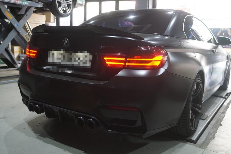 BMW F82 M4 배기튜닝 중통 소음기 교체 작업으로 1.5배업그레이드